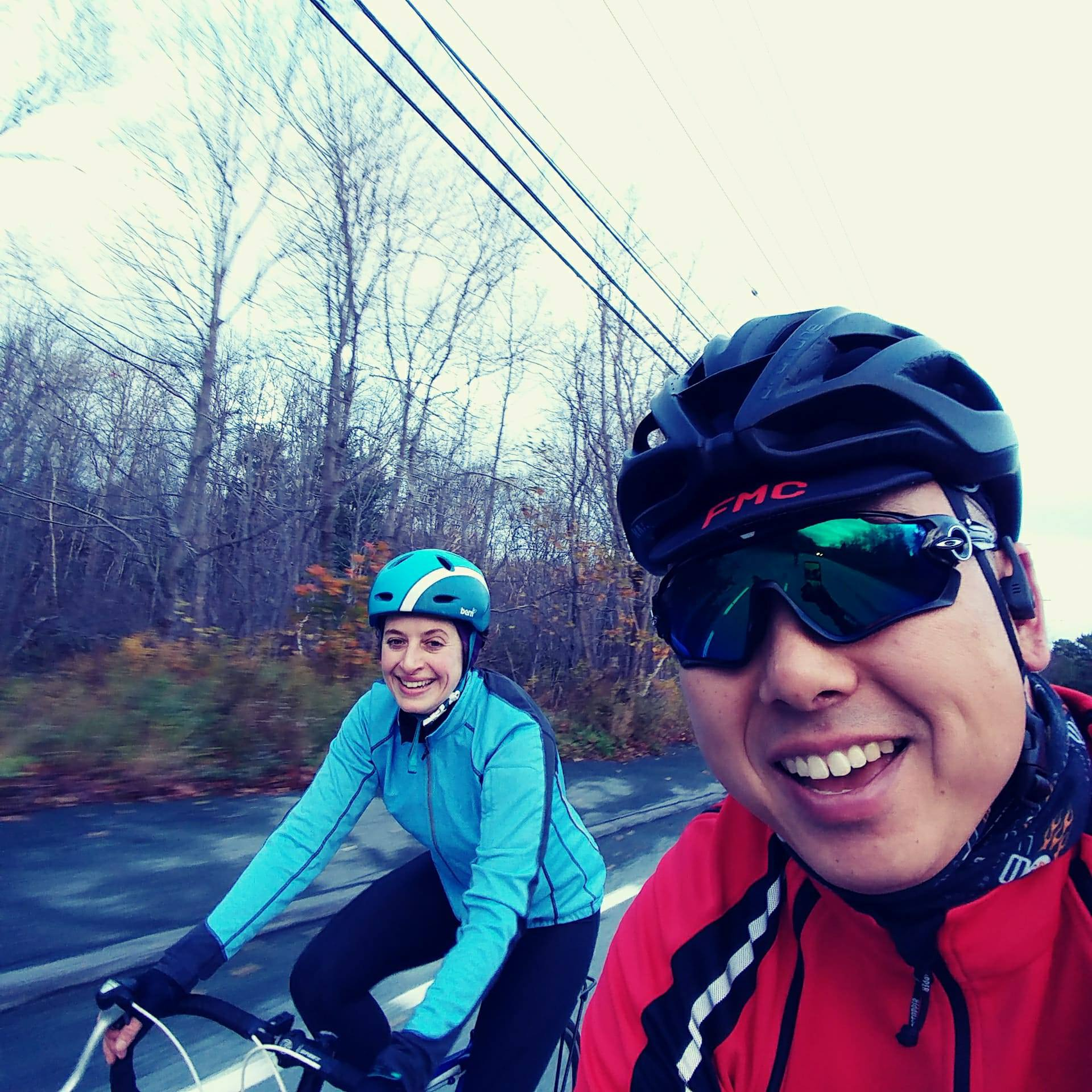 Lindsay Brin and VP Jason Lee take a bike ride through a Halifax on the last day of Big Data Congress 2017.